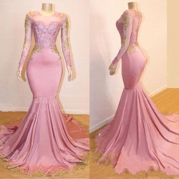 2020 New African Mermaid Long Sleeves Prom Dresses lack Girls Gold Lace Applique Sweep Train Formal Party Evening Gowns