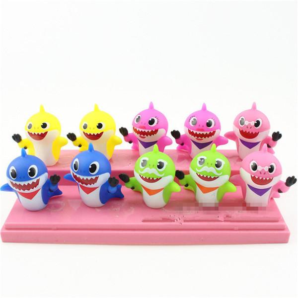 10 pçs / lote Tubarão Do Bebê Squeeze Brinquedos de Vinil Brinquedos Presente Dos Desenhos Animados Bonito para Crianças Dos Miúdos Do Partido Fornecimento MMA1543