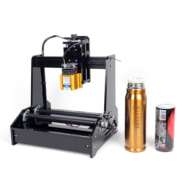 top popular DIY Cylindrical CNC Laser Engraving Machine For Cylindrical Bottles With 15W can work for Stainless Steel 2021