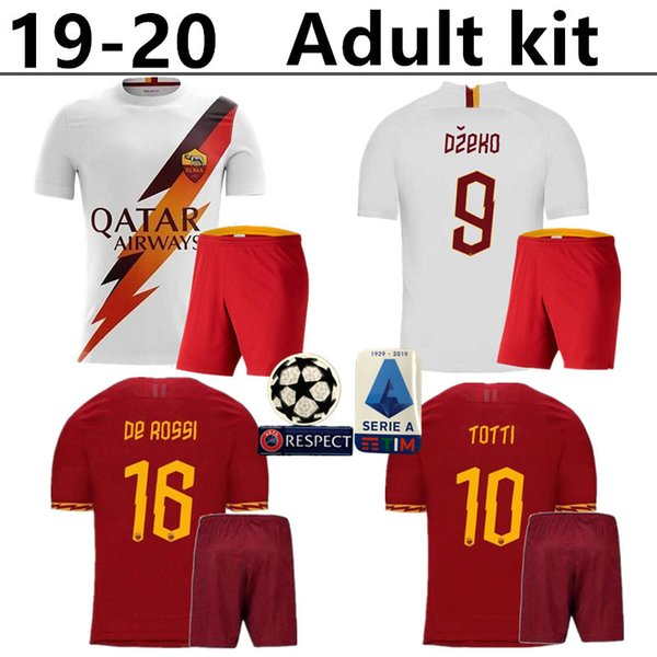 2019 2019 2020 AS Roma Home Soccer Jerseys Kits 19 20 DZEKO TOTTI Rome  Camisetas Football Shirt Kit De Rossi Farewell Match Uniforms From Jjw1017,