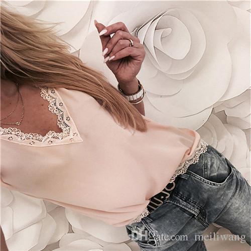 Camicetta delle donne Top Summer Top Casual maniche corte allentate in pizzo solido con scollo a V Camicette in chiffon Camicie donna Vest Blusa Plus Size