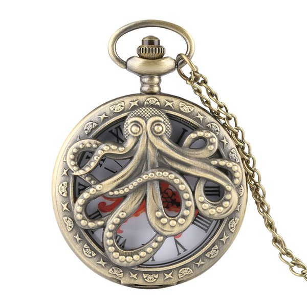 Unique Hollow Octopus Cover Quartz Pocket Watch Necklace Bronze/Grey Color Fob Watches for Men Women 2019 New Clock Gift for Kid