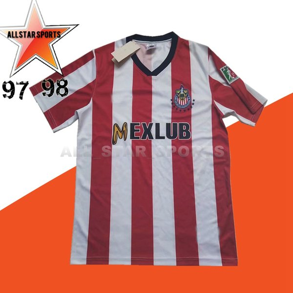 the best attitude e5ac3 58c0a 2019 Retro 97 98 1997 1998 Chivas Guadalajara Soccer Jerseys 96 97 Vintage  Classic Football Shirts Antique Collection Uniforms Home White Red Cam From  ...