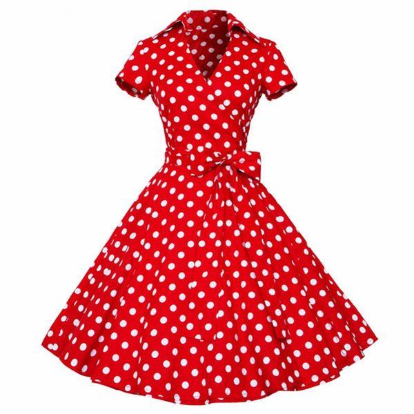 Plus Size Dress Vintage Rockabilly Swing Feminino 4xl Women Retro Vestidos V Neck Short Sleeves Dot Print Dress