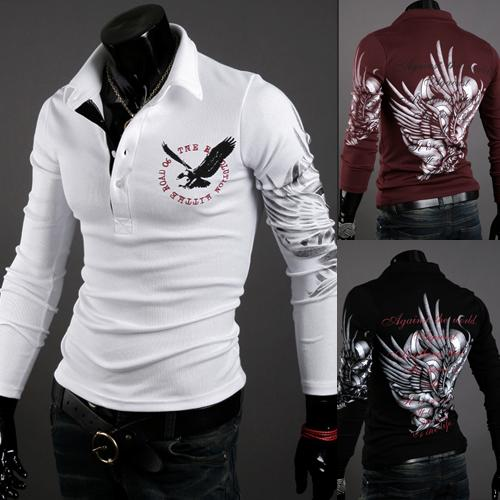 Uomini Tops nuovo modo di autunno a maniche lunghe europea del tatuaggio di stile dell'aquila Stampato shirt Silm Fit 3 colori