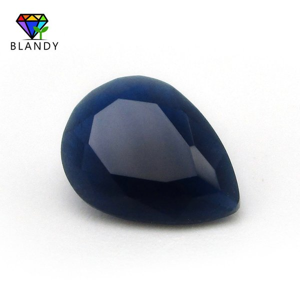 Free Shipping Blue Color Glass Beads 3x5~13x18mm Oval Cut Blue Synthetic Glass Gems Stone For Jewelry Making