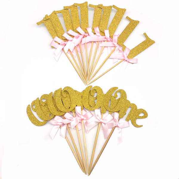 6/10pcs Glitter Paper 1st Cupcake Toppers Happy Birthday Decoration First Birthday Boy Girl Cake Decoration Baby Shower Party