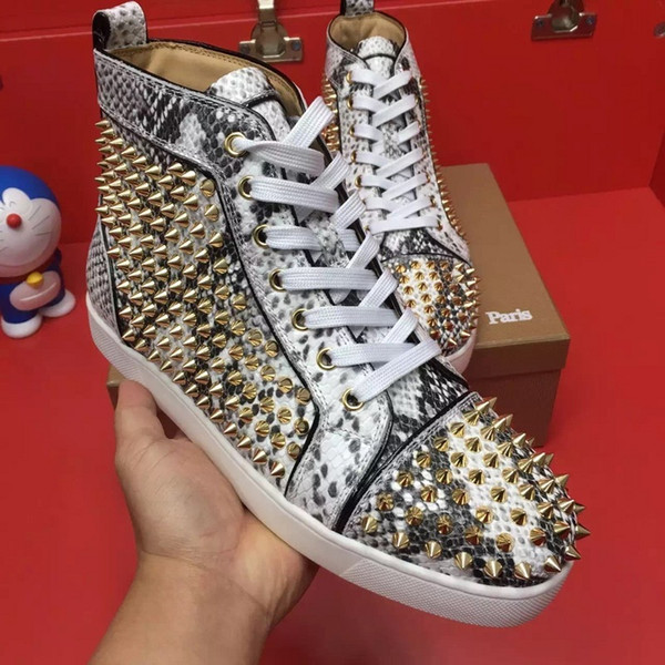 Gold Spikes Python Leather High Top Red Bottom Sneakers,Unisex Luxury Footwear Flats,Fashion Casual Comfort Leisure Wholesale c21