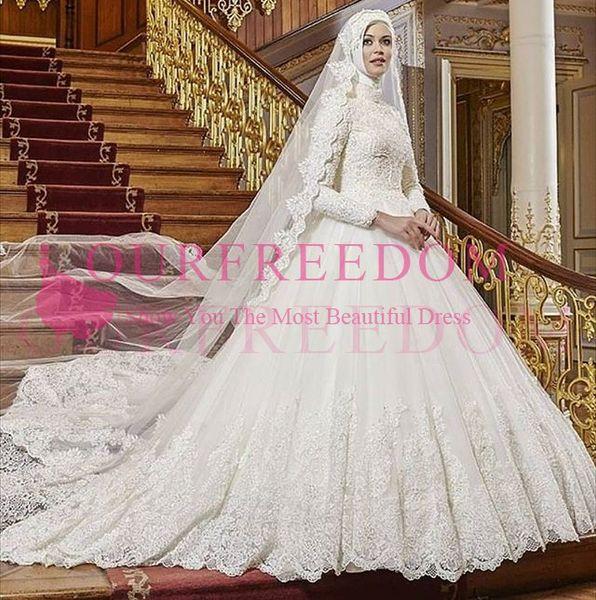 2019 Vintage Long Sleeve High Neck Wedding Dresses Muslim Lace Sweep Train Cathedral Train Bridal Gown Dubai Arabic Style For Church Wedding