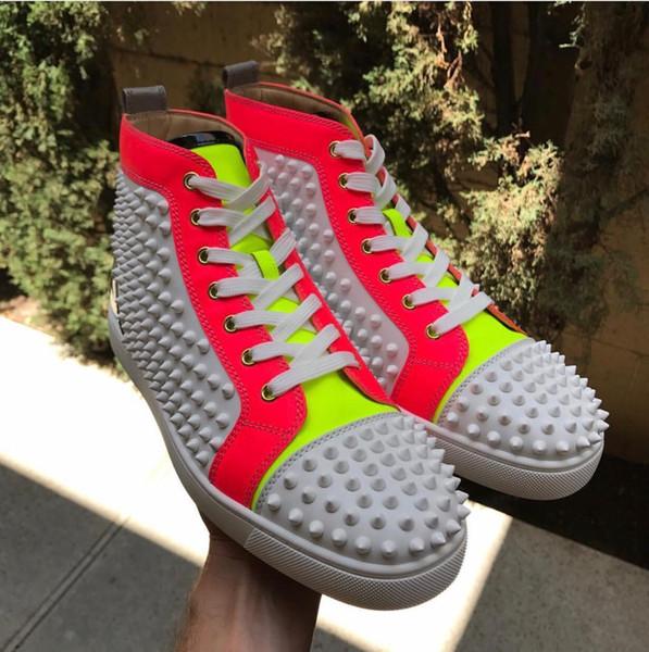 De lujo de los hombres rojos de fondo, Zapatos de mujer de cuero genuino top del alto de las zapatillas de deporte, plana al aire libre con los zapatos del partido Caminar