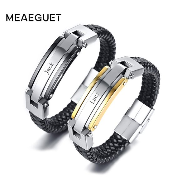 Cheap ID Bracelets Personalized Stainless Steel Leather Bracelet For Men Women Accessories Bracelet Couples Jewelry Free Engraving