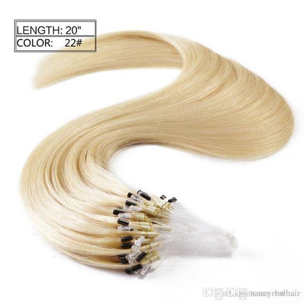 Elibess Brand Grade 8A - 100% Echthaar Micro Ring Loop Haarverlängerungen Brasilianisches gerades 1g / s 100 Stränge, frei verwicklungsfreier Abwurf