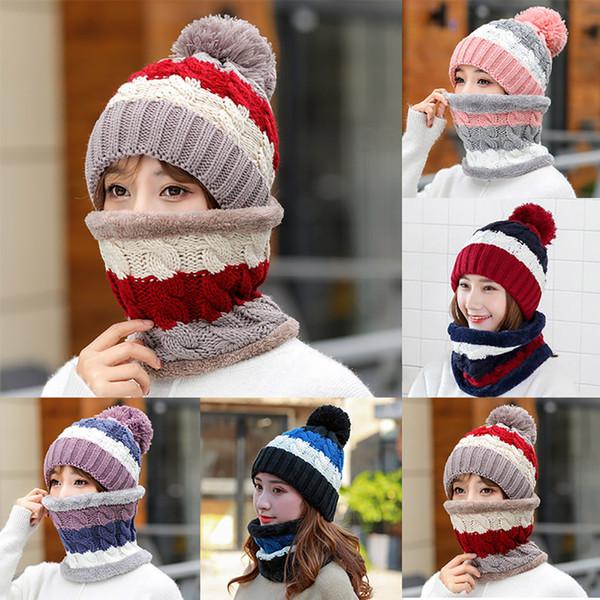 Womens Crochet Chapéu De Malha De Lã Com Gorro Gorro Quente Fleece Ski Cap chapéus de inverno para pessoa Madura
