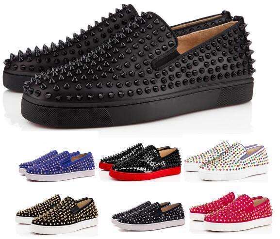 Comprar um sapatilhas de fundo vermelho calçados casuais mens mulheres baixo preto Designer completo Spikes Roller Boat apartamentos skate loafers homem de luxo mulher sapato
