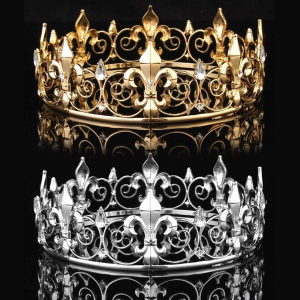 Golden/silver Wedding Bridal Crystal Tiara Crown King Queen Pageant Prom Rhinestone Veil Tiara Headband Wedding Hair Jewelry J 190430