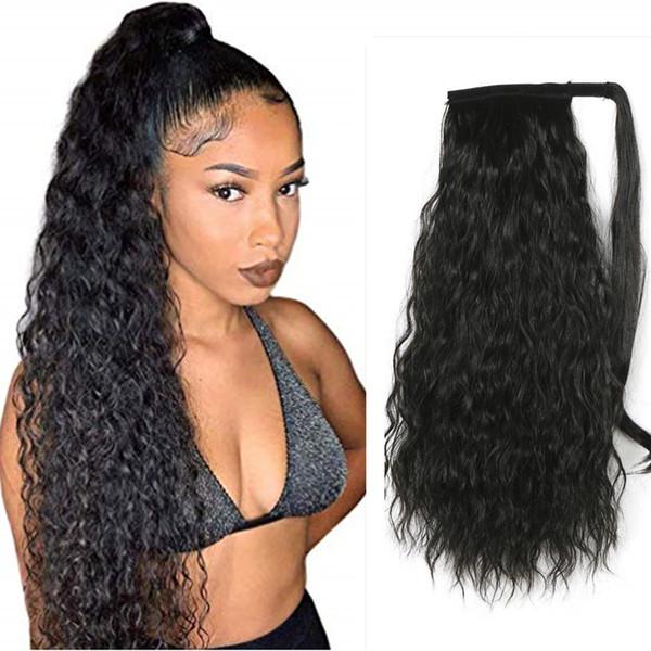 100 Human Curly wavy ponytail drawstring hair piece wet wavy brazilian hair pony tail 160g natural hairstyle wraps dye free
