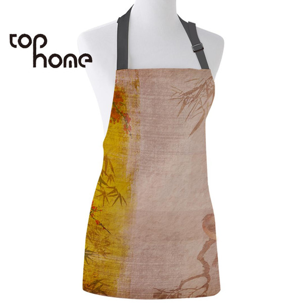 Tophome Kitchen Apron Chinese Traditional Plum Blossom Printed Sleeveless Canvas Aprons for Men Women Kids Home Cleaning Tools