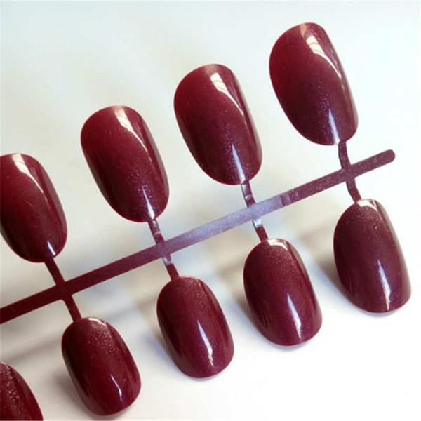 24 PCS Vin Rouge Ovale Faux Ongles Court Rond Brillant Ongles Brillants Faux Astuce Filles Artificielles Appuyez Sur Ongle Doigt Pour Nail Art Salon