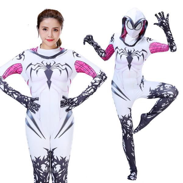 Halloween New Spider Gwen Stacy Spandex Lycra Zentai Spiderman Cosplay Girls Women Female Spider Suit Anti-Venom Gwen CostumesMX190923