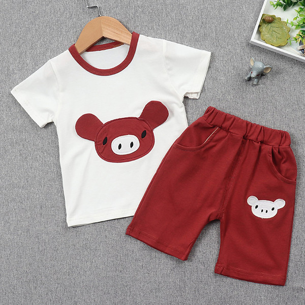 Baby Boy Clothes Set Summer Toddler Kids Clothing Cute Cartoon Printed T-shirt + Pants Boy Suit for 1-4 Years Children Clothes