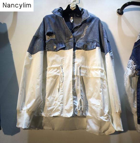 2019 Autunno Streetwear Cappotti Donna Nuova scollatura Lettere da ricamo Giacche larghe Patch di colore Giacca di jeans Giacca a vento Donna