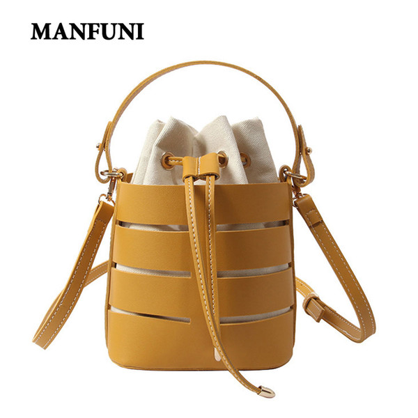 Women Handbag New Hollow PU Beach Shoulder Bags Small Female Portable Bucket Bag Handbags Casual messenger Crossbody Bags Women