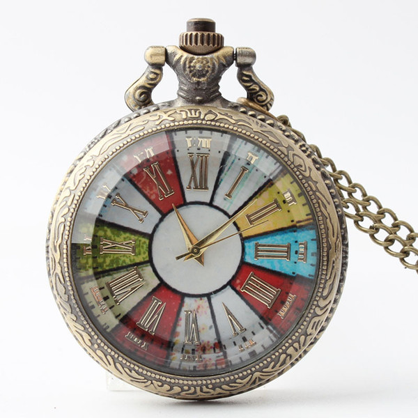 Cam Durumda Cebi Kolye Erkekler Kadınlar Steampunk Zincir Cep Saatleri Vintage Romen Rakamları Kuvars Fob İzle Ücretsiz Kargo