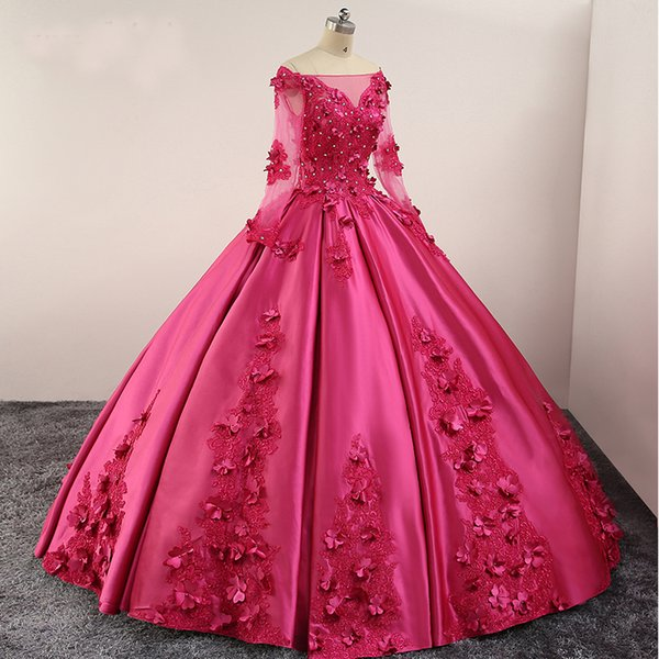 Fuchsia Ball Gown Prom Dresses Long Sleeves Off Shoulder Lace up Back Lace Applique Beads Flowers Satin Evening Gowns Quinceanera Dresses