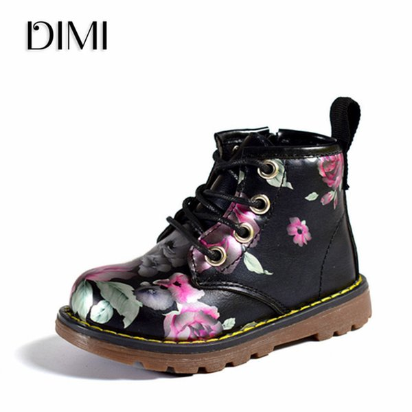 DIMI 2018 New Children Shoes Girls Boots PU Leather Martin Boots Elegant Irregular Flowers Casual Kids Shoes For Girl Baby Boots