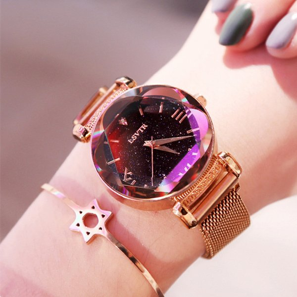 Hot selling Magnet Crystal Star Fashion Network Quartz Watch for women Fashion & Casual Chronograph Hardlex Round Alloy