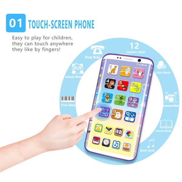 Educational Kids Phone Toys Kids Smart Phone Toys with USB Port Touch Screen English Learning Educational Toys for Unisex Fashion