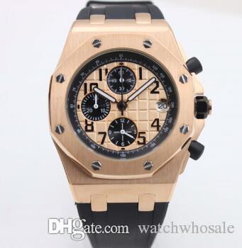 Luxury Royal Oak Offshore Chronograph Stop Watch 42mm Rose Pink whit Gold Case Dial Rubber Strap Quartz Mens Wristwatch