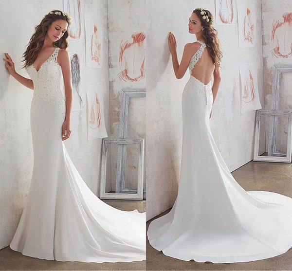 Chic Satin Mermaid Wedding Dresses New Designed Lace Appliqued Beaded Long Bridal Gown Deep V Neck Backless robes de mariee AL3213