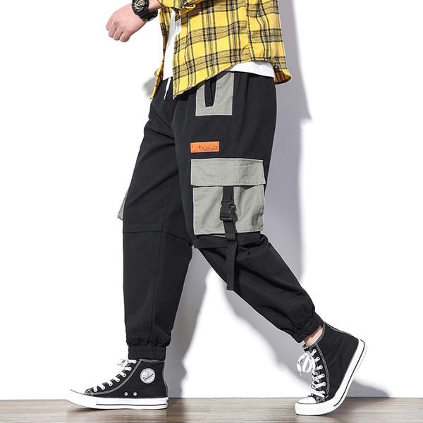 Men Cargo Pants Streetwear Multi-Pocket Hip Hip Harajuku Harem Pants Baggy Elastic Waist Loose Joggers Male Hipster Trousers