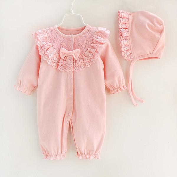 Outono Bebê Recém-nascido Roupas de Menina Conjuntos de Renda Arco Princesa Macacão + Chapéus Infantis Meninas Bodysuits Saco de Dormir Q190520