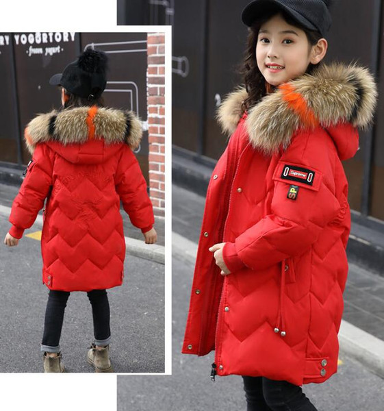 top popular Kids Girls Coat Thick Duck Down Parka Winter Warm Outwear Hooded Down Jacket 2021