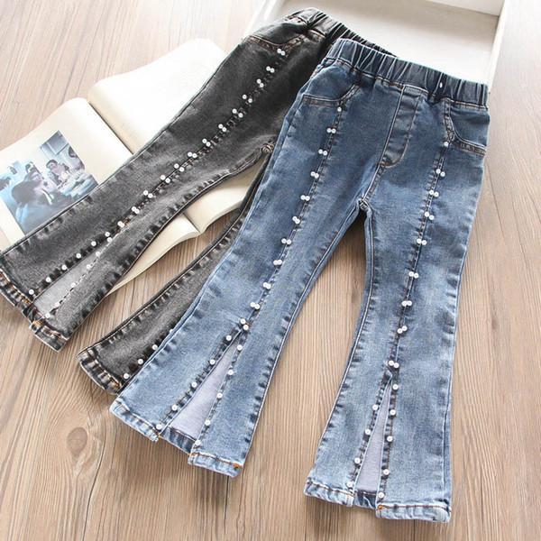 Novo 2019 outono inverno meninas jeans pérola crianças jeans denim calças queimadas crianças roupas de grife meninas roupas moda crianças roupas A7285
