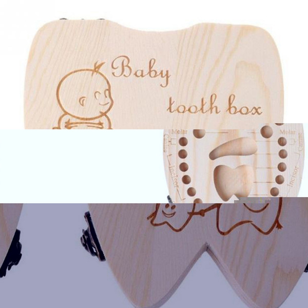 Estuche para dientes de bebé Organizador de almacenamiento de almacenamiento para organizadores de almacenamiento de dientes de leche de madera para niñas