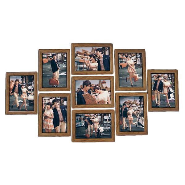 9 Pçs / lote Imagem Pendurado Quadros de Parede Photo Frame Set 7-Polegadas de Casamento Criativo Série Foto Molduras Da Família para a imagem Decoração Da Parede