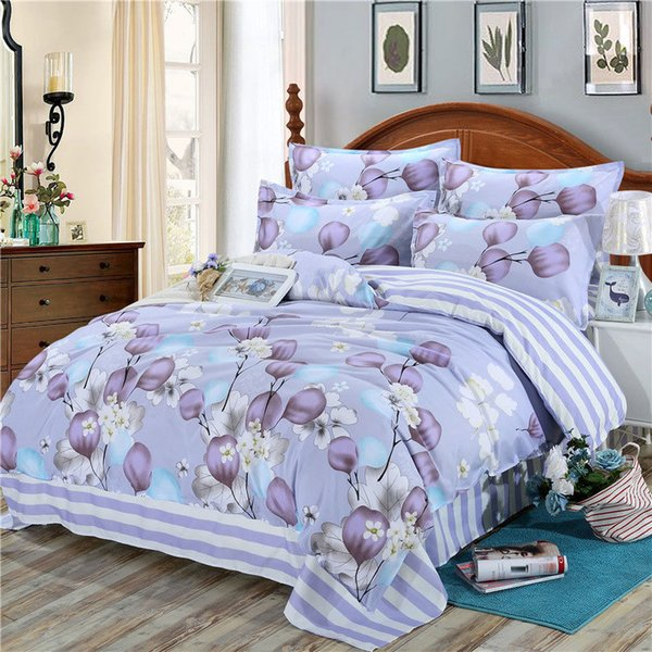 Purple Flower 4pcs Kid Bed Cover Set Cartoon Duvet Cover Adult Child Bed Sheets And Pillowcases Comforter Bedding Set 2TJ-61002