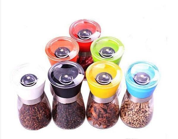 top popular Salt and Pepper mill grinder Glass Pepper grinder Shaker Salt Container Condiment Jar Holder New ceramic grinding bottles 2021