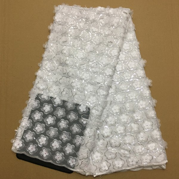 High Quality African French Lace Fabrics white Net Embroidery Sequins Tulle Lace Fabric For Nigerian Wedding Party Dress