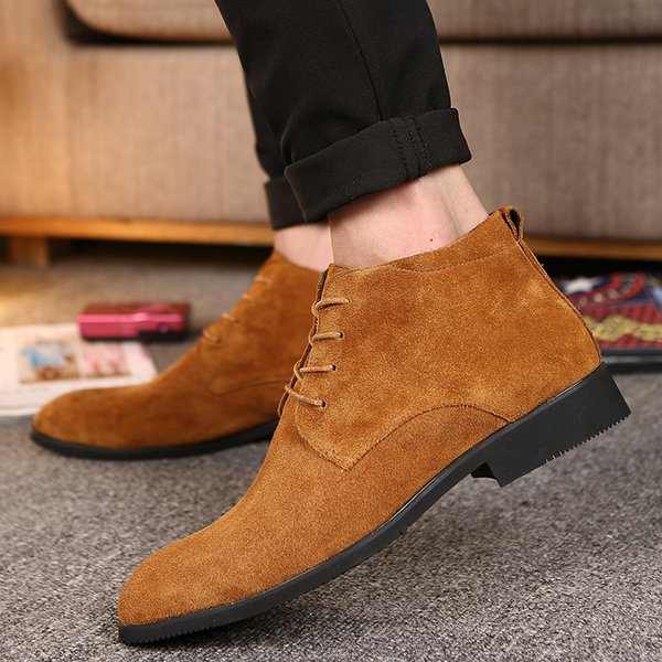 Men Fashion Men Leather Dress Shoes Bottine Homme High Quality Cow Suede Boots Italian Brand Ankle Boots