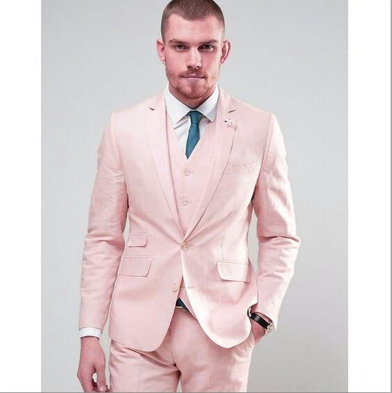 Hot Selling Groom Tuxedos Pink Groomsmen Notch Lapel Best Man Suit Wedding/Men Suits Bridegroom ( Jacket+Pants+Vest+Tie ) A385