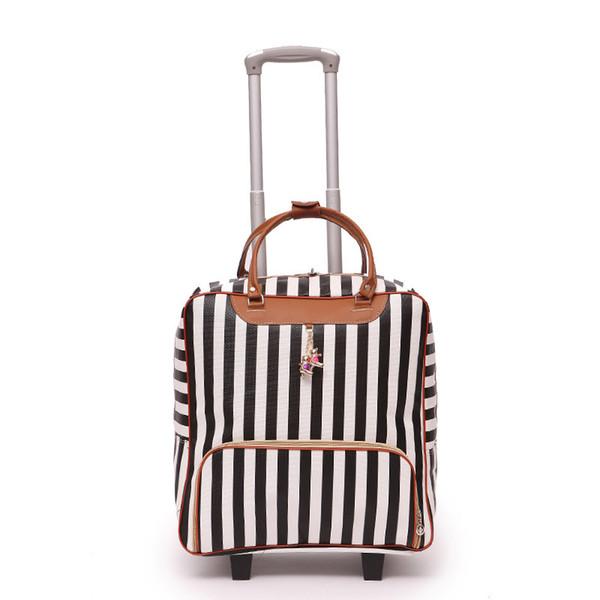 Las nuevas mujeres viajan equipaje maleta bolsa de alta calidad Rolling Trolley Funda de cuero Hombres Equipaje Ruedas Dragboxes