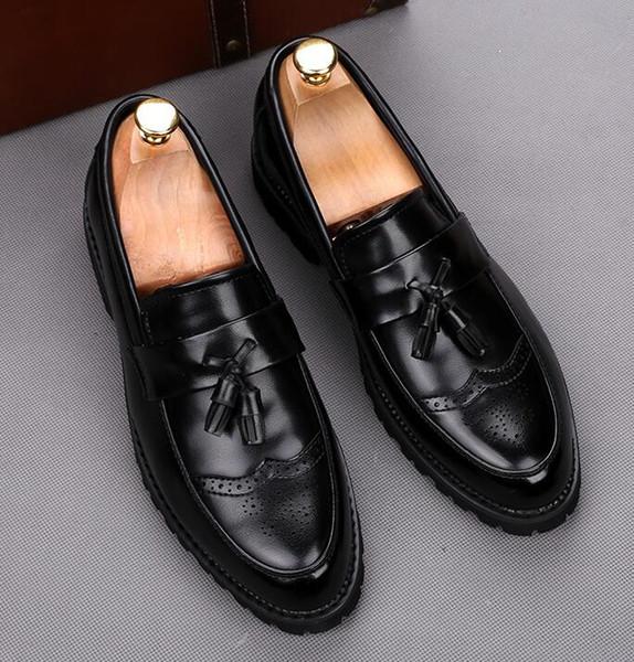 2019 erkekler rahat ayakkabılar kayma moda deri rahat erkekler için mokasen loafer'lar Boyutu: EU39-43