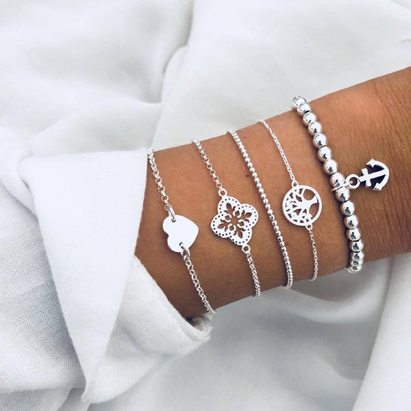 Love Hollow Flower Heart Root Anchor Anchor Beaded European and American Fashion Bracelet Five-piece