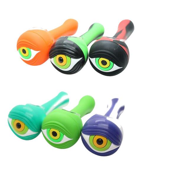 Tubo di fumo in silicone campione con tappo a forma di occhi Ciotola di supporto filtro a sigaretta in erbe lunghezza 4.44 pollici Tubo di cucchiaio infrangibile