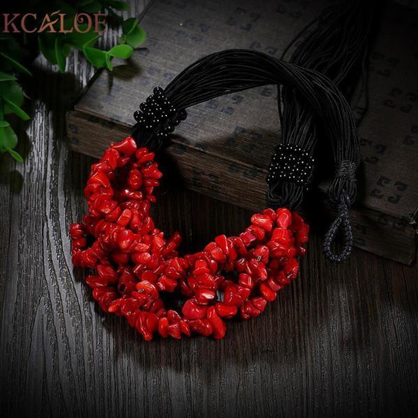 Kcaloe Red Coral Bohemian Necklace Irregular Natural Stone Accessori Donna Fashion Wedding Chokers Collane per donne Chocker C19041201