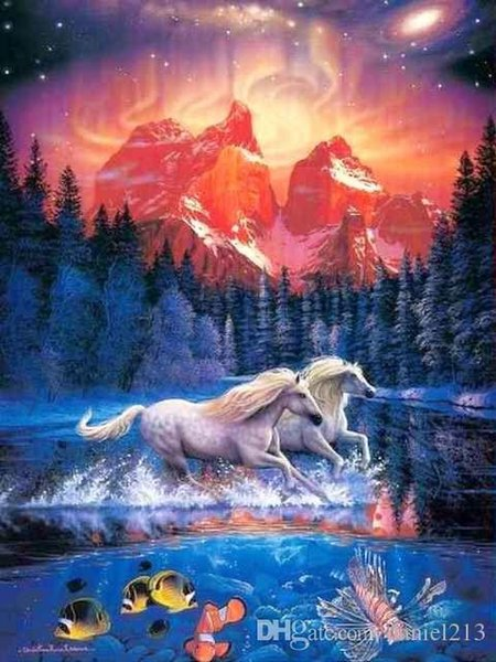 16x20 inches White Horse Running In Forest DIY Paint On Canvas drawing By Numbers Kits Art Acrylic Oil Painting Frame For Adults